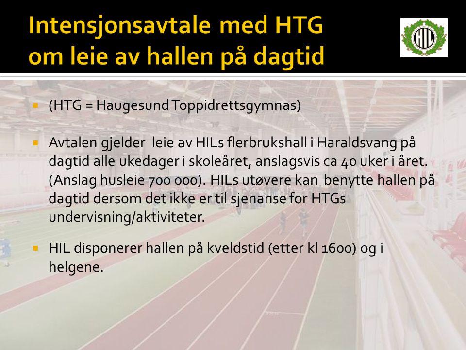  (HTG = Haugesund Toppidrettsgymnas)  Avtalen gjelder leie av HILs flerbrukshall i Haraldsvang på dagtid alle ukedager i skoleåret, anslagsvis ca 40