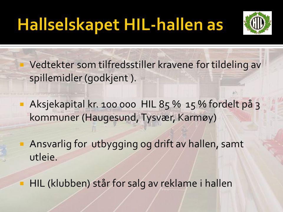 Vedtekter som tilfredsstiller kravene for tildeling av spillemidler (godkjent ).  Aksjekapital kr. 100 000 HIL 85 % 15 % fordelt på 3 kommuner (Hau