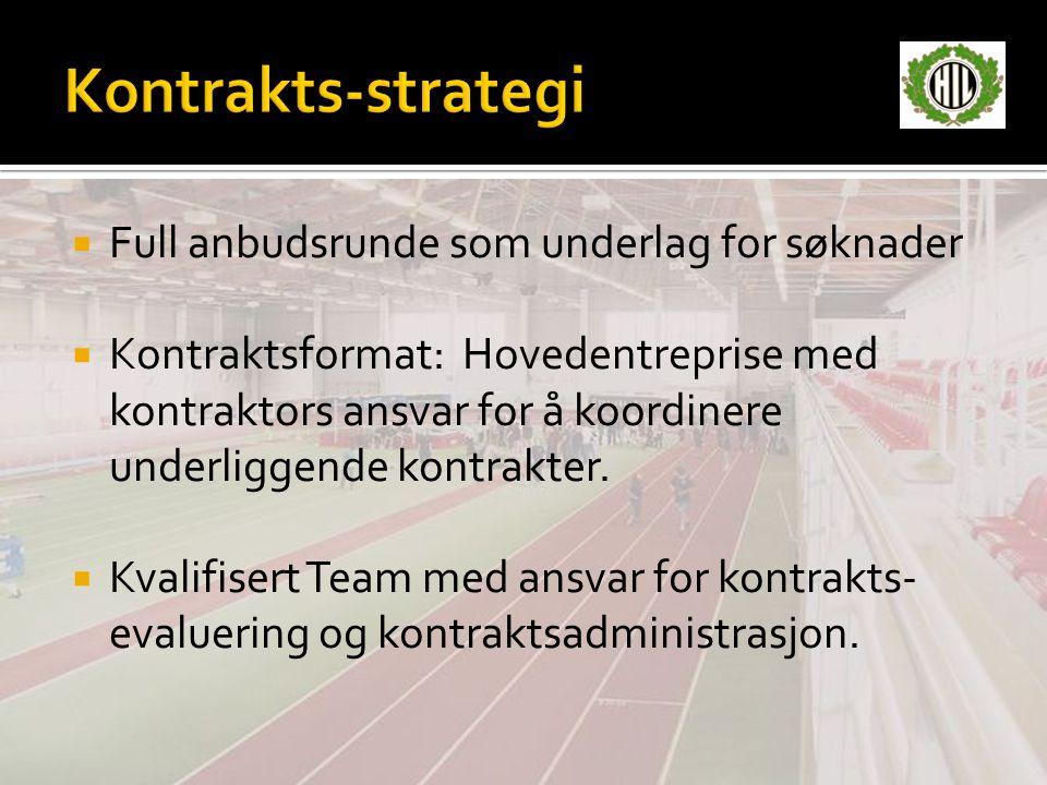  Full anbudsrunde som underlag for søknader  Kontraktsformat: Hovedentreprise med kontraktors ansvar for å koordinere underliggende kontrakter.  Kv