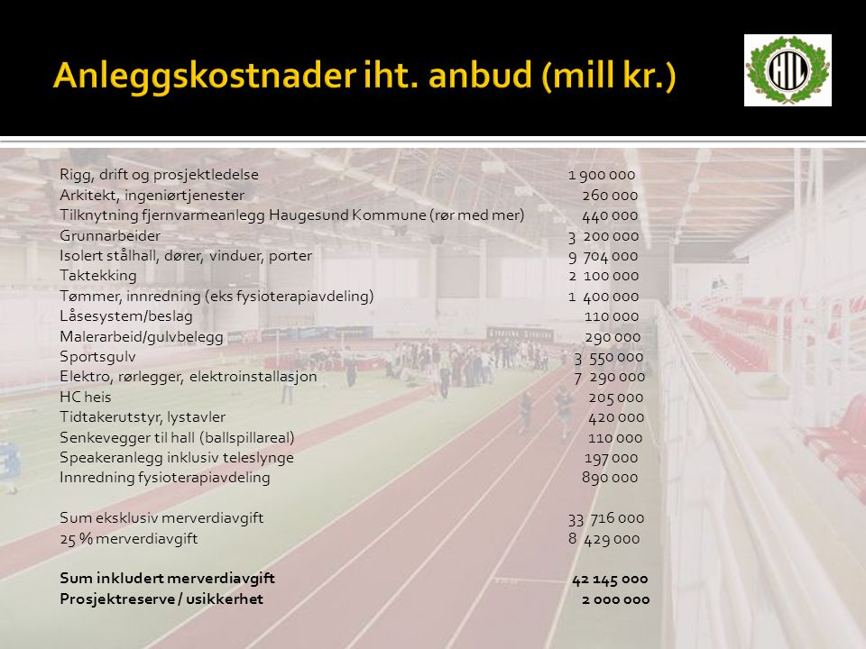 Rigg, drift og prosjektledelse1 900 000 Arkitekt, ingeniørtjenester 260 000 Tilknytning fjernvarmeanlegg Haugesund Kommune (rør med mer) 440 000 Grunn