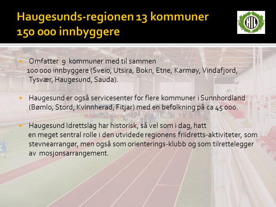  Omfatter 9 kommuner med til sammen 100 000 innbyggere (Sveio, Utsira, Bokn, Etne, Karmøy, Vindafjord, Tysvær, Haugesund, Sauda).  Haugesund er også