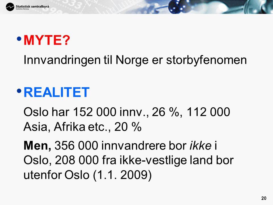 20 • MYTE? Innvandringen til Norge er storbyfenomen • REALITET Oslo har 152 000 innv., 26 %, 112 000 Asia, Afrika etc., 20 % Men, 356 000 innvandrere