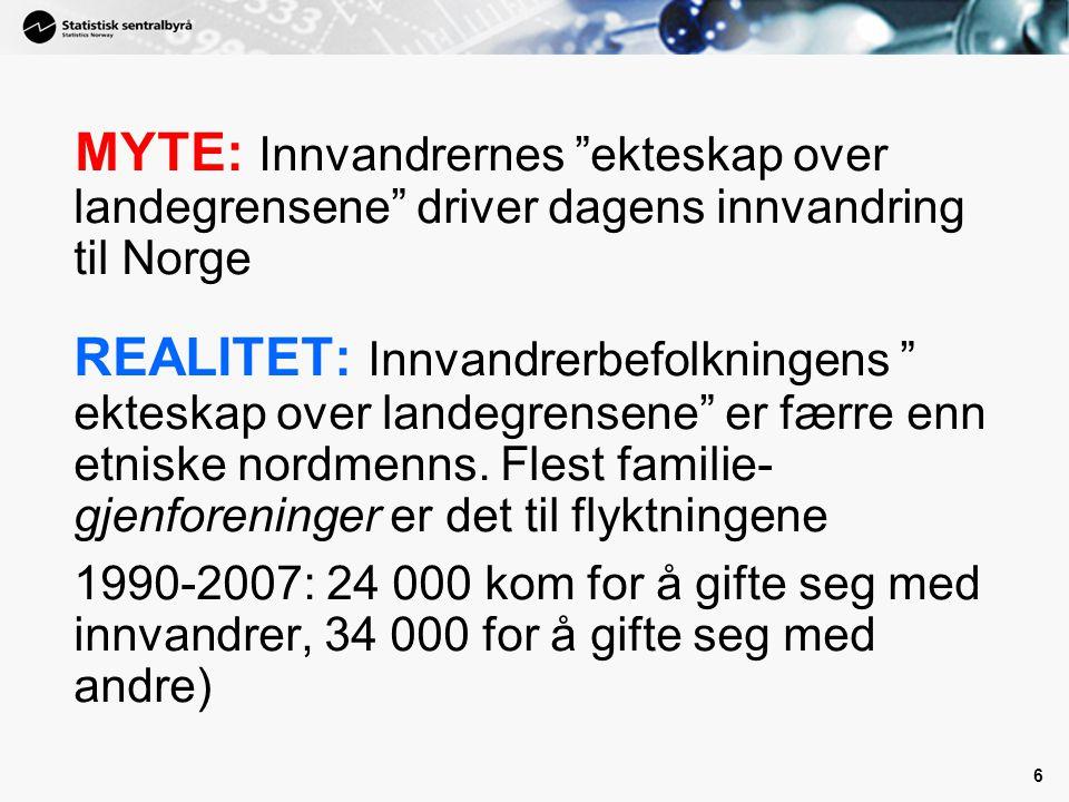 """6 MYTE: Innvandrernes """"ekteskap over landegrensene"""" driver dagens innvandring til Norge REALITET: Innvandrerbefolkningens """" ekteskap over landegrensen"""