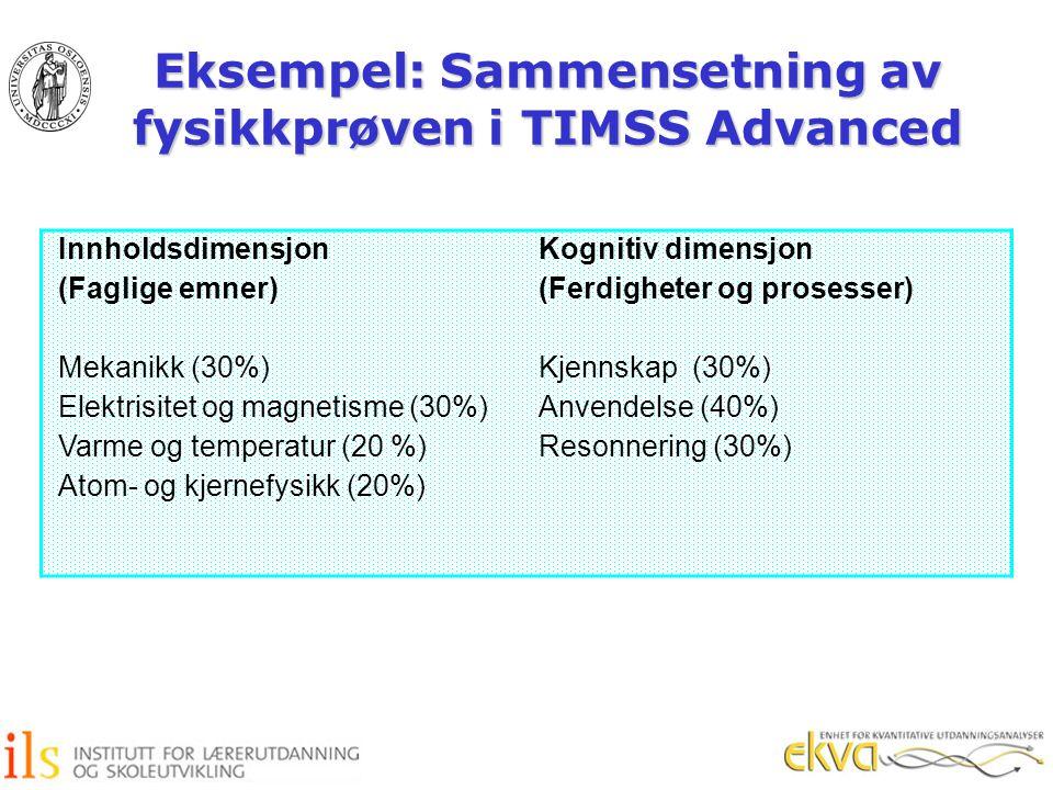 Eksempel: Sammensetning av fysikkprøven i TIMSS Advanced Innholdsdimensjon (Faglige emner) Mekanikk (30%) Elektrisitet og magnetisme (30%) Varme og te