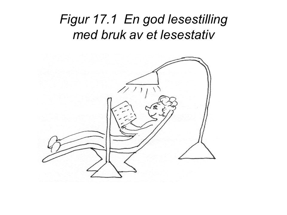 Figur 17.1 En god lesestilling med bruk av et lesestativ