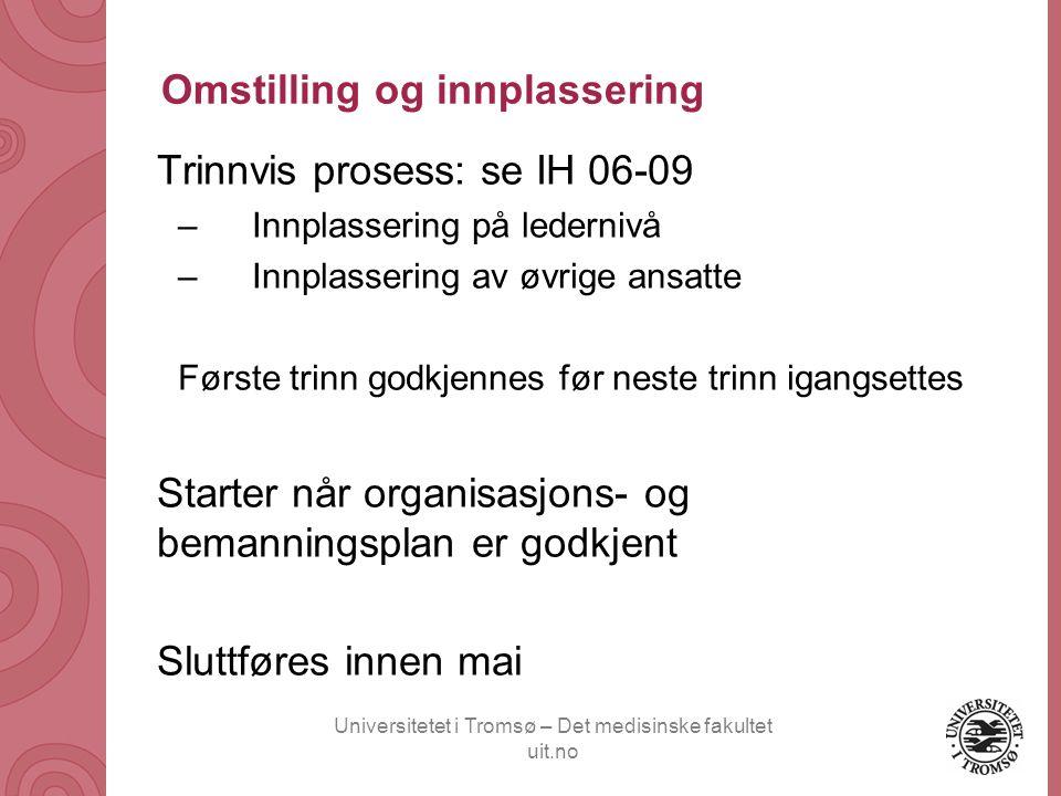 Universitetet i Tromsø – Det medisinske fakultet uit.no Omstilling og innplassering Trinnvis prosess: se IH 06-09 –Innplassering på ledernivå –Innplas