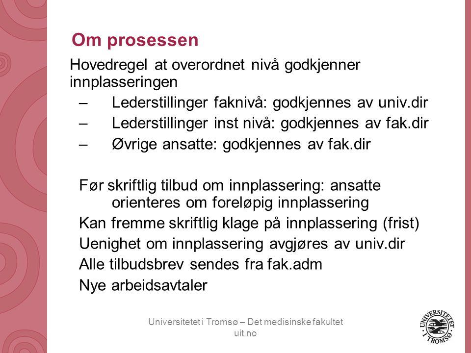 Universitetet i Tromsø – Det medisinske fakultet uit.no Om prosessen Hovedregel at overordnet nivå godkjenner innplasseringen –Lederstillinger faknivå