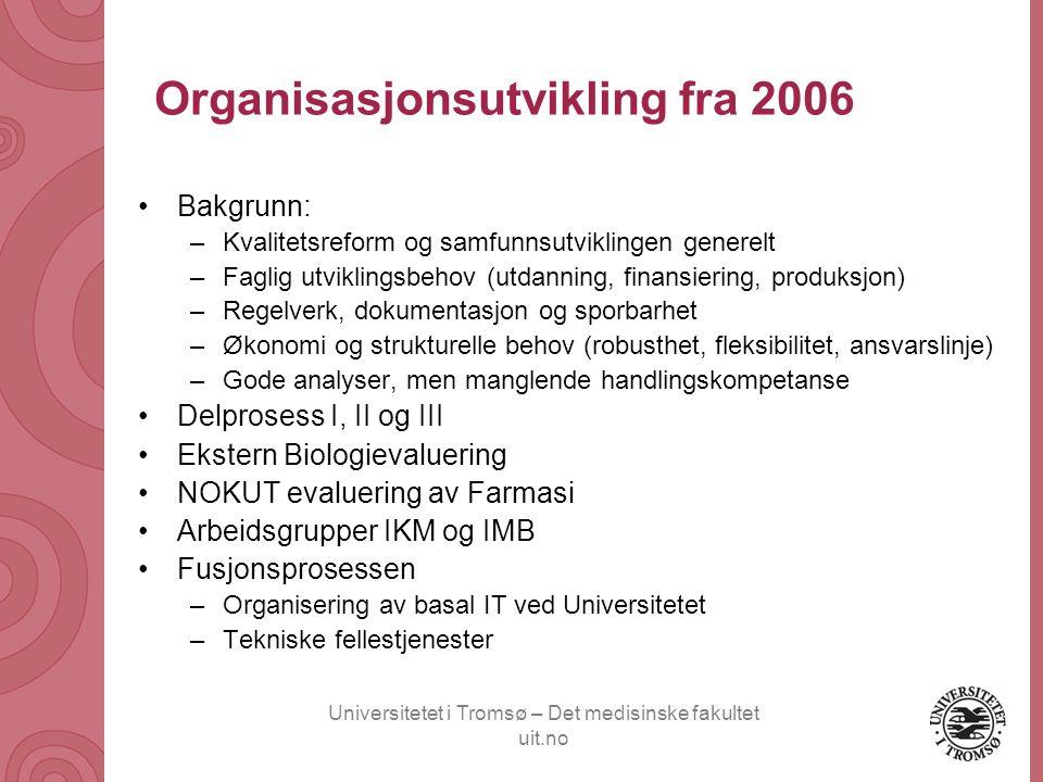 Universitetet i Tromsø – Det medisinske fakultet uit.no Organisasjonsutvikling fra 2006 •Bakgrunn: –Kvalitetsreform og samfunnsutviklingen generelt –F