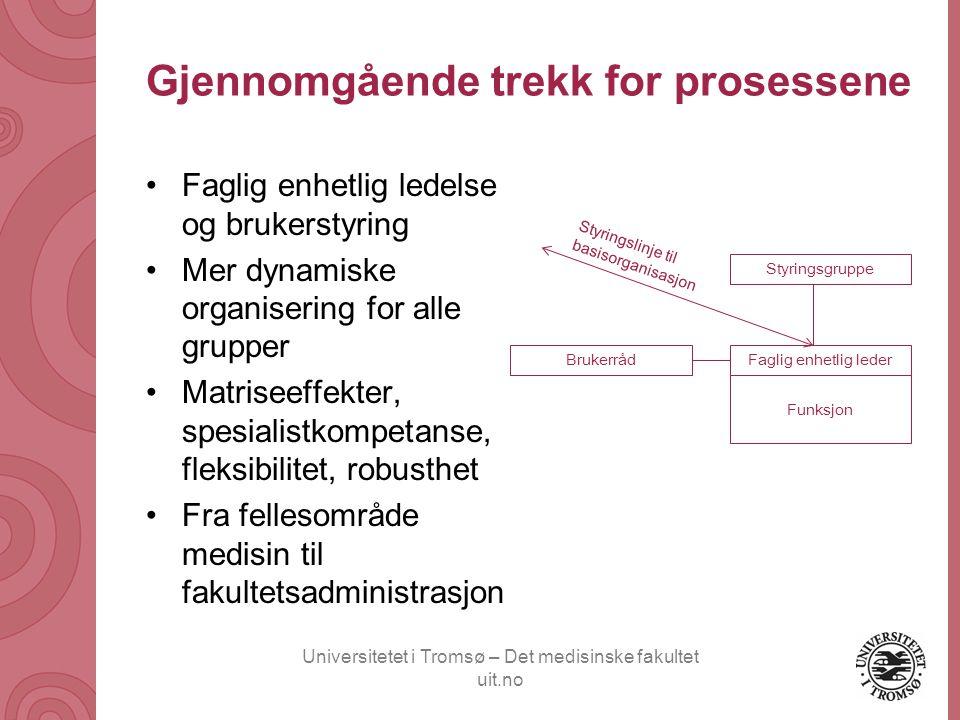 Universitetet i Tromsø – Det medisinske fakultet uit.no Gjennomgående trekk for prosessene •Faglig enhetlig ledelse og brukerstyring •Mer dynamiske or