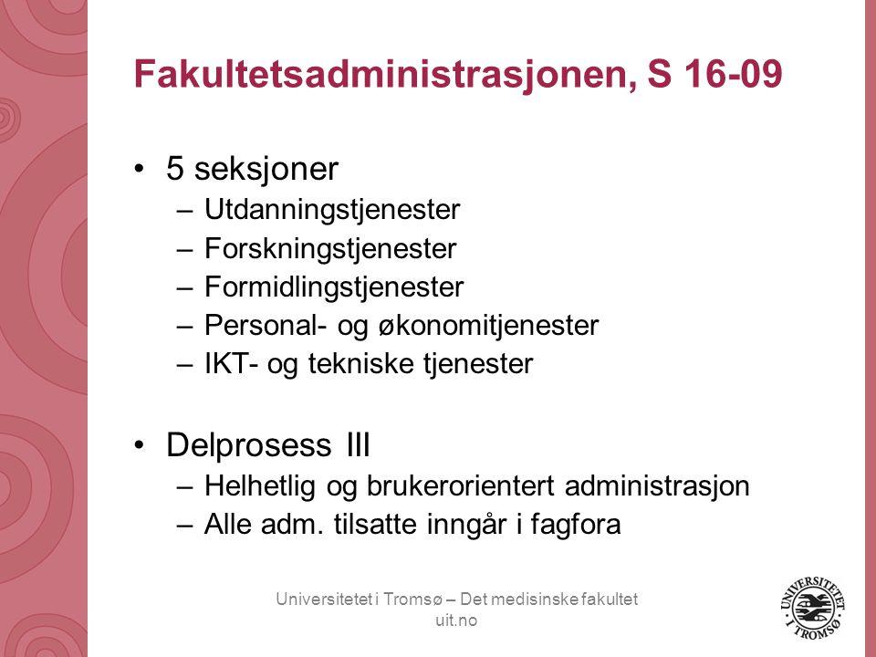 Universitetet i Tromsø – Det medisinske fakultet uit.no Fakultetsadministrasjonen, S 16-09 •5 seksjoner –Utdanningstjenester –Forskningstjenester –For
