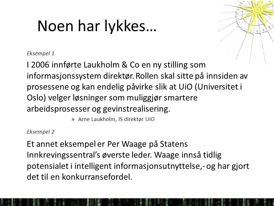 Noen har lykkes… Eksempel 1 I 2006 innførte Laukholm & Co en ny stilling som informasjonssystem direktør.
