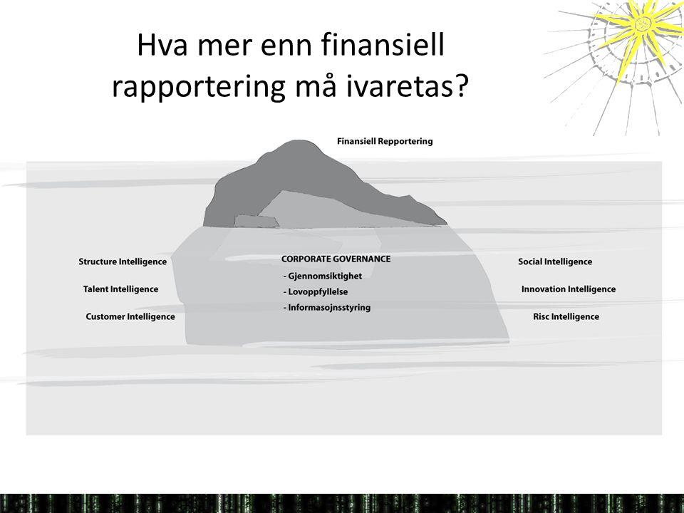 Hva mer enn finansiell rapportering må ivaretas?