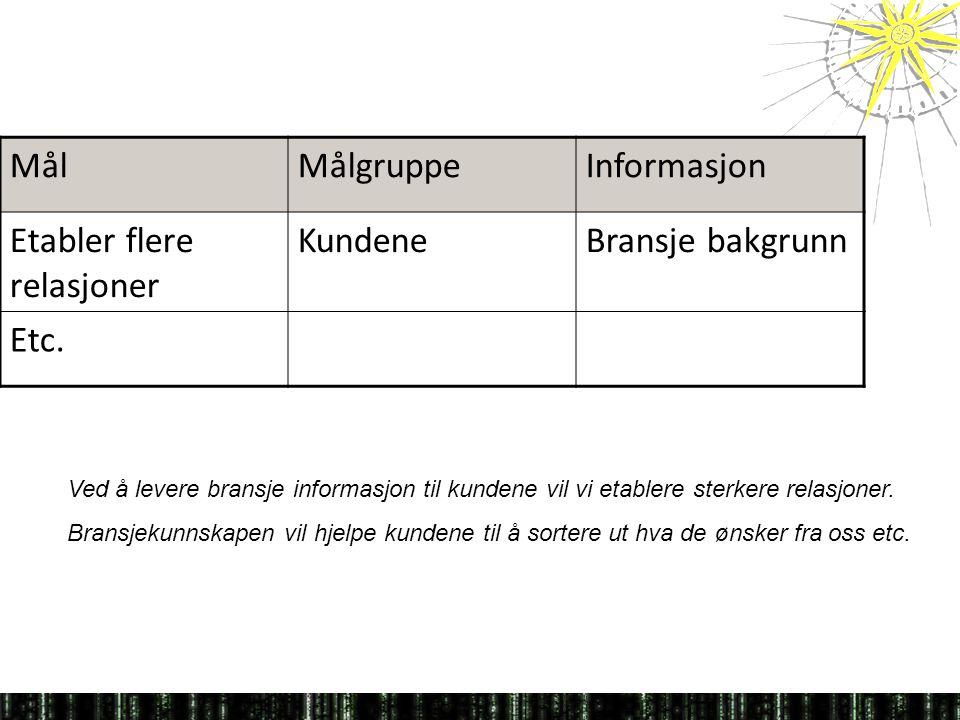 MålMålgruppeInformasjon Etabler flere relasjoner KundeneBransje bakgrunn Etc.