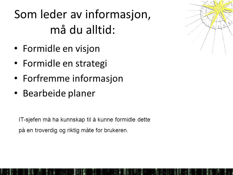 Som leder av informasjon, må du alltid: • Formidle en visjon • Formidle en strategi • Forfremme informasjon • Bearbeide planer IT-sjefen må ha kunnskap til å kunne formidle dette på en troverdig og riktig måte for brukeren.