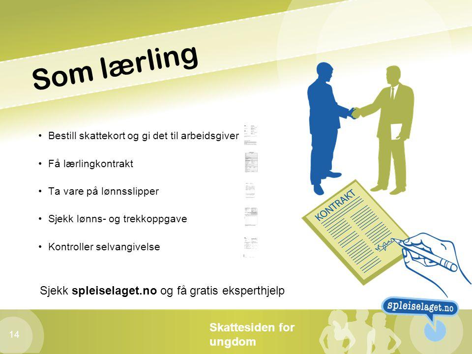 Skattesiden for ungdom 14 Som lærling • Bestill skattekort og gi det til arbeidsgiver • Få lærlingkontrakt • Ta vare på lønnsslipper • Sjekk lønns- og