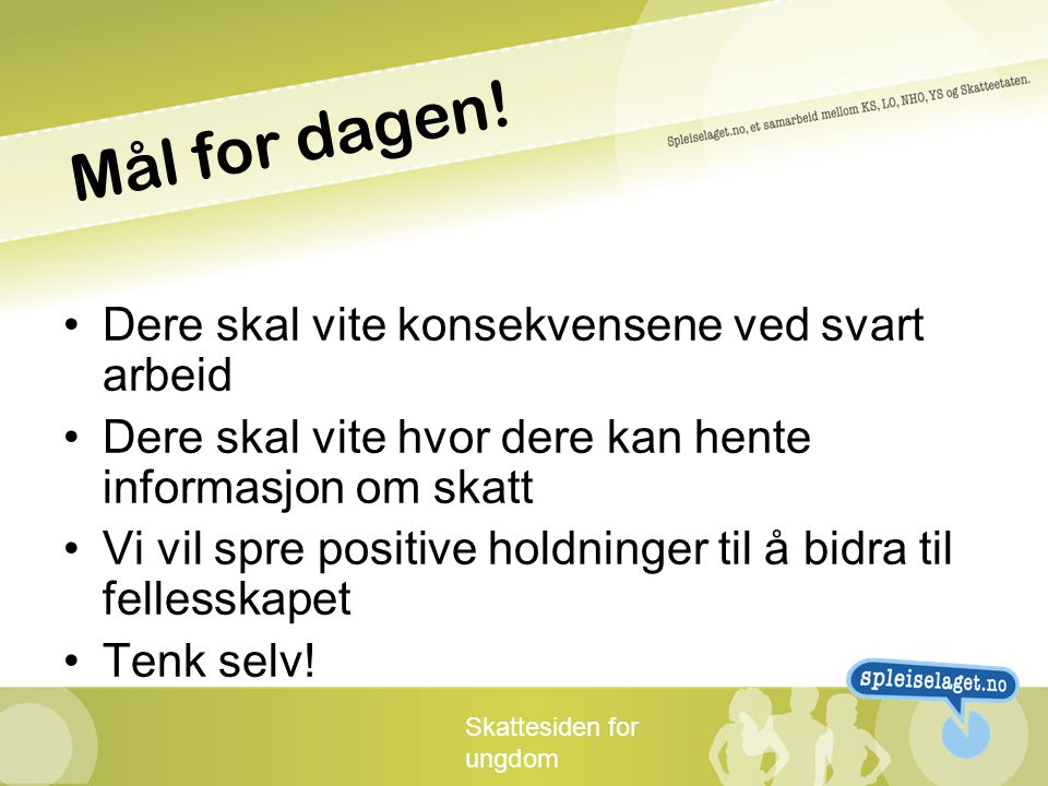 Skattesiden for ungdom Mål for dagen.