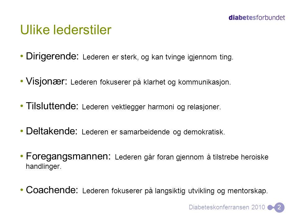 Ulike lederstiler •Dirigerende: Lederen er sterk, og kan tvinge igjennom ting. •Visjonær: Lederen fokuserer på klarhet og kommunikasjon. •Tilsluttende