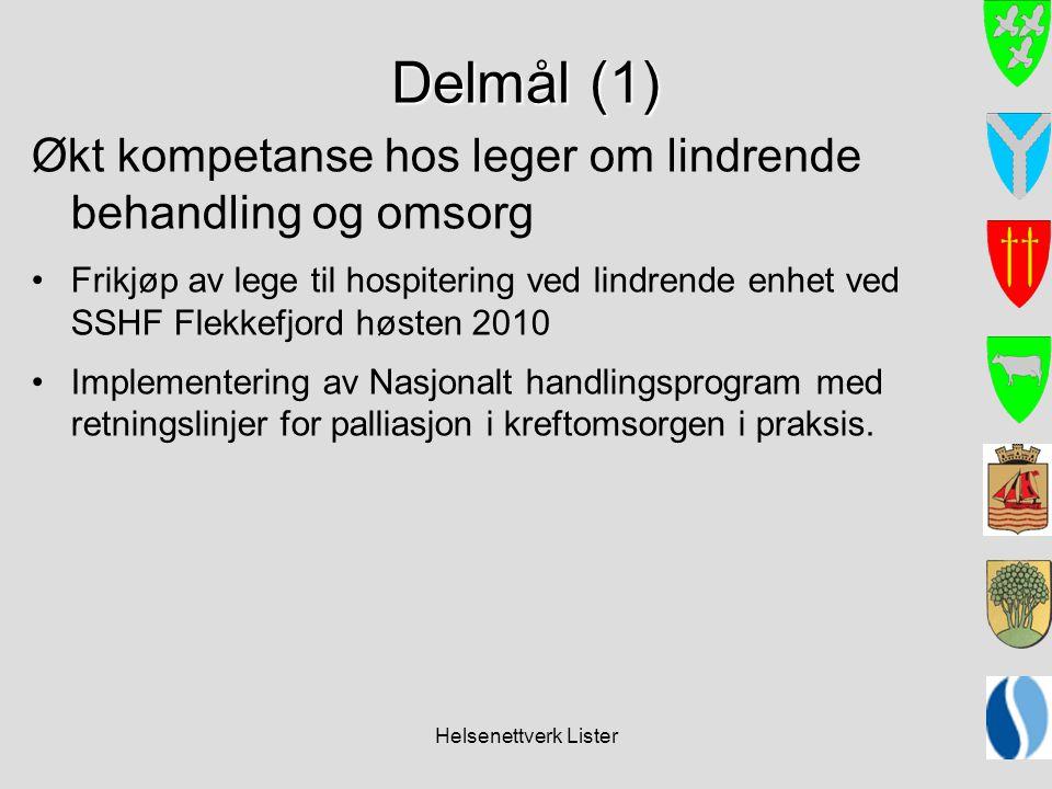 Helsenettverk Lister Delmål (1) Økt kompetanse hos leger om lindrende behandling og omsorg •Frikjøp av lege til hospitering ved lindrende enhet ved SS