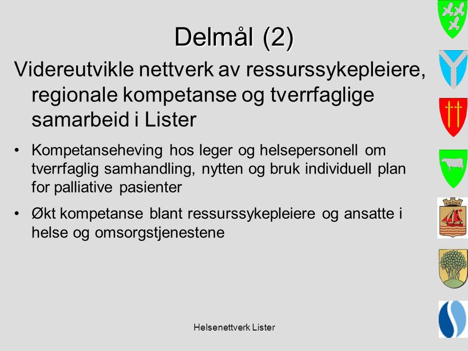 Helsenettverk Lister Delmål (2) Videreutvikle nettverk av ressurssykepleiere, regionale kompetanse og tverrfaglige samarbeid i Lister •Kompetansehevin