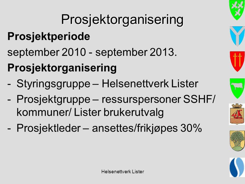 Helsenettverk Lister Prosjektorganisering Prosjektperiode september 2010 - september 2013. Prosjektorganisering -Styringsgruppe – Helsenettverk Lister