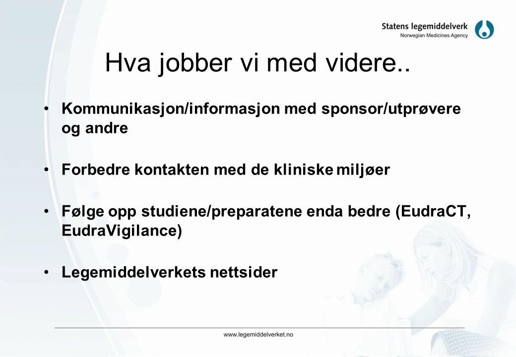 Meldte studier i EudraCT (1.05.04 –15.05.07) LandStudierKommersielleAkademiske Norge467123137 (29%) Sverige1074845224 (21%) Danmark695480213 (31%) Fin