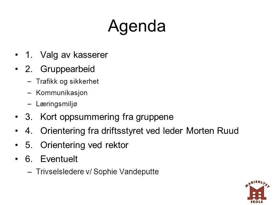 Agenda •1. Valg av kasserer •2. Gruppearbeid –Trafikk og sikkerhet –Kommunikasjon –Læringsmiljø •3. Kort oppsummering fra gruppene •4. Orientering fra