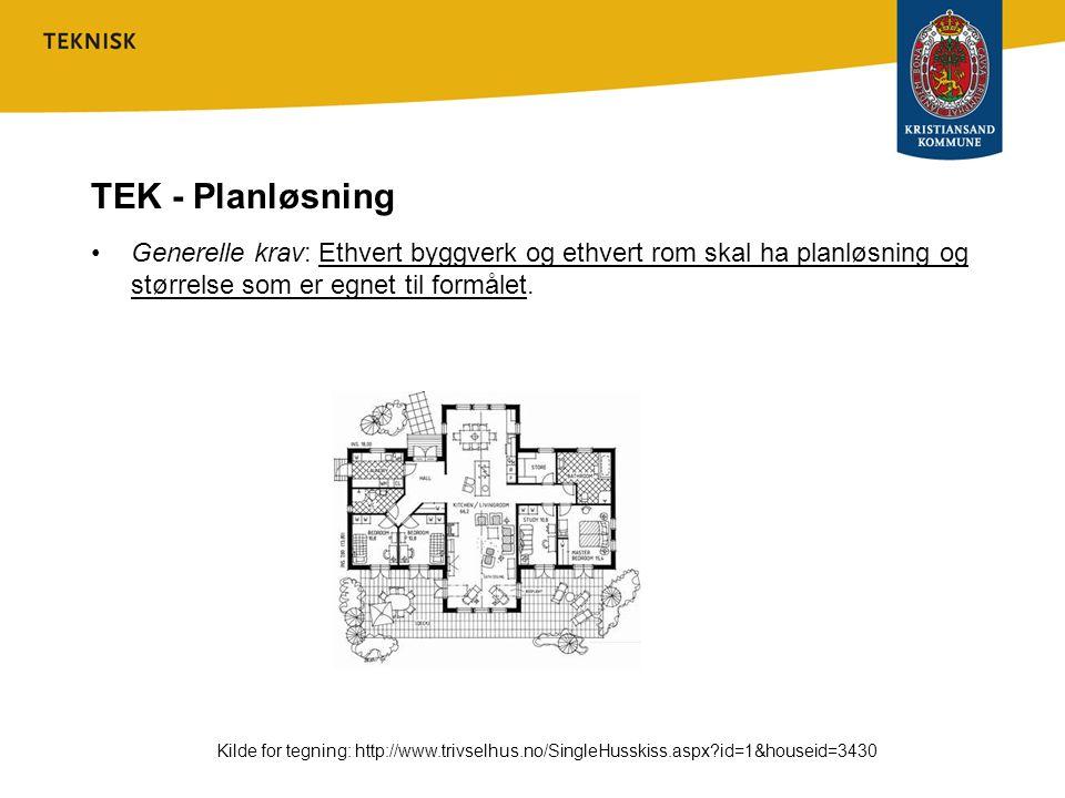 TEK - Planløsning •Generelle krav: Ethvert byggverk og ethvert rom skal ha planløsning og størrelse som er egnet til formålet. Kilde for tegning: http
