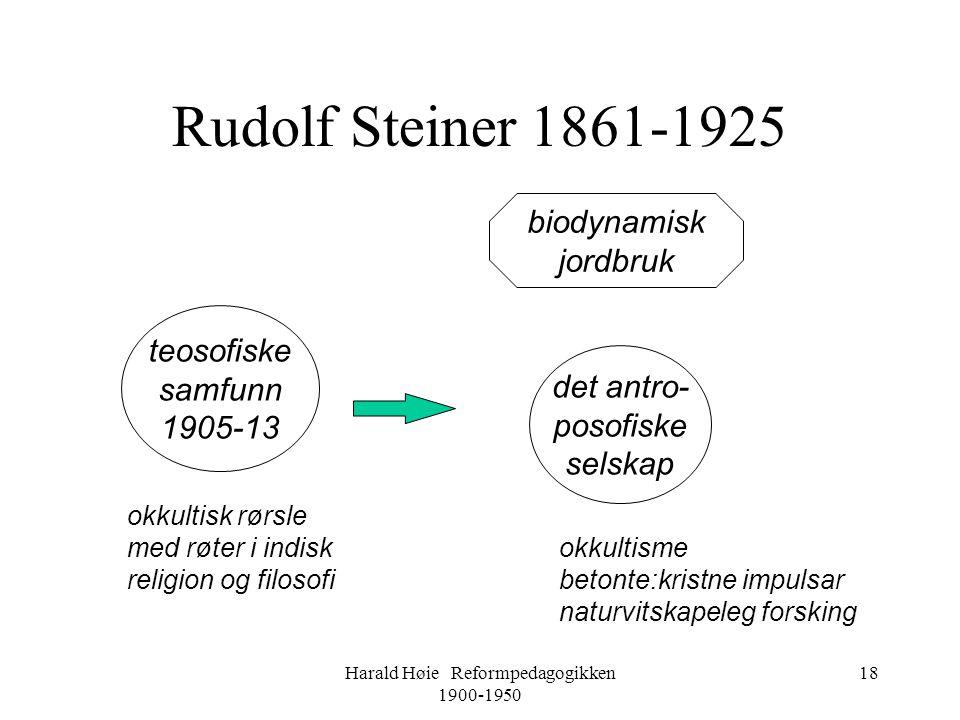 Harald Høie Reformpedagogikken 1900-1950 18 Rudolf Steiner 1861-1925 teosofiske samfunn 1905-13 det antro- posofiske selskap okkultisk rørsle med røte