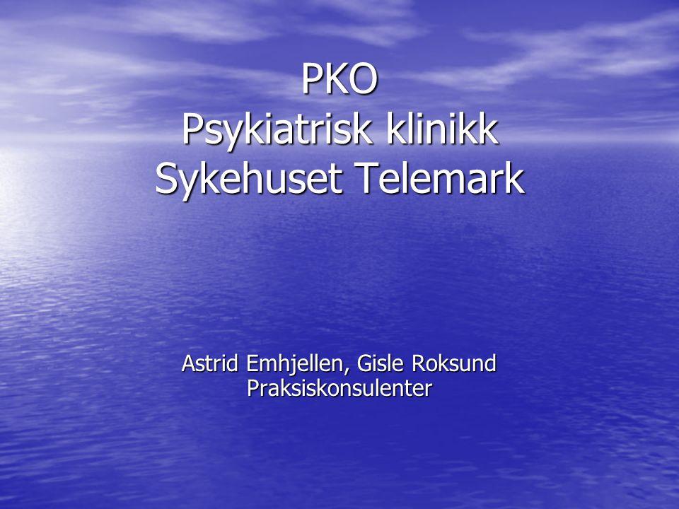 PKO Psykiatrisk klinikk Sykehuset Telemark Astrid Emhjellen, Gisle Roksund Praksiskonsulenter