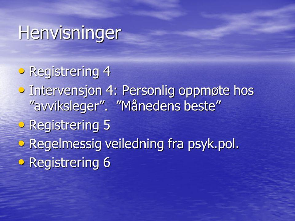 Henvisninger • Registrering 4 • Intervensjon 4: Personlig oppmøte hos avviksleger .