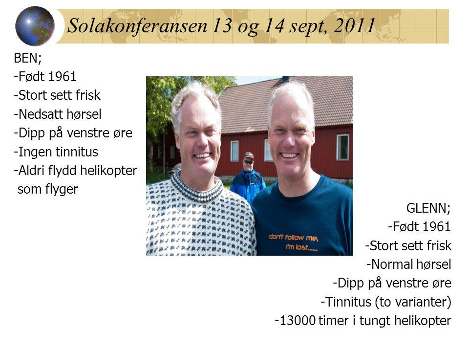 Solakonferansen 13 og 14 sept, 2011 BEN; -Født 1961 -Stort sett frisk -Nedsatt hørsel -Dipp på venstre øre -Ingen tinnitus -Aldri flydd helikopter som