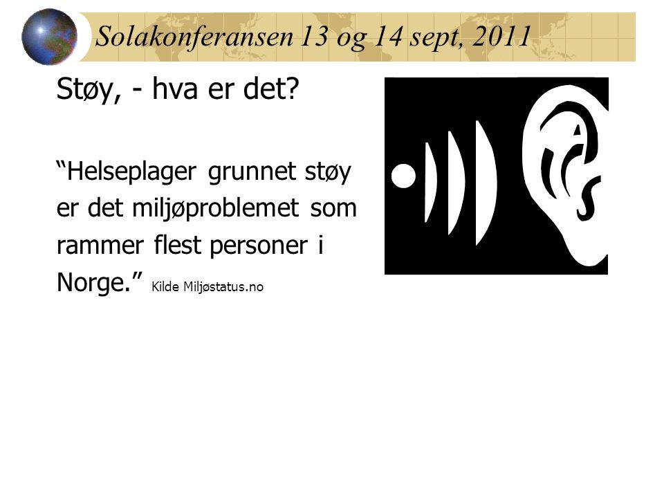 """Solakonferansen 13 og 14 sept, 2011 Støy, - hva er det? """"Helseplager grunnet støy er det miljøproblemet som rammer flest personer i Norge."""" Kilde Milj"""