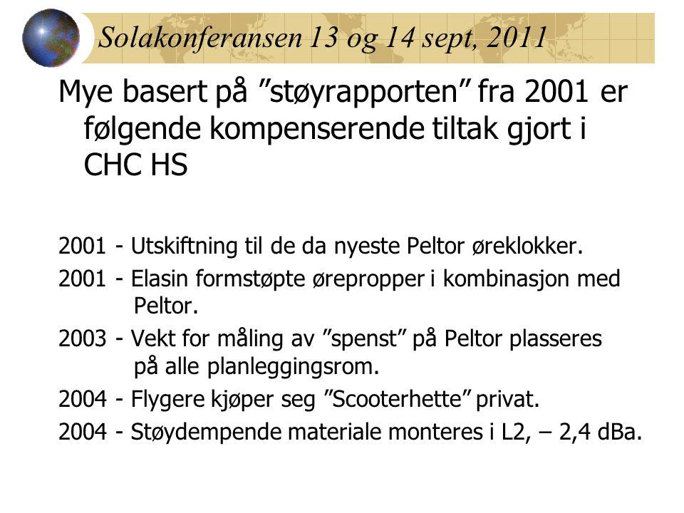 """Solakonferansen 13 og 14 sept, 2011 Mye basert på """"støyrapporten"""" fra 2001 er følgende kompenserende tiltak gjort i CHC HS 2001 - Utskiftning til de d"""