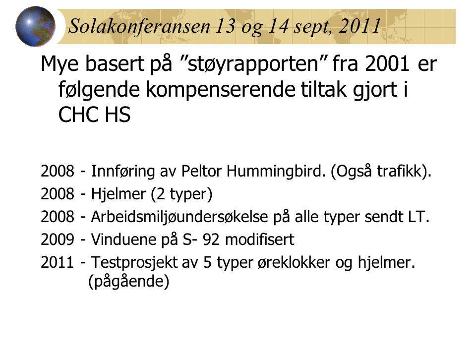 Solakonferansen 13 og 14 sept, 2011 Mye basert på støyrapporten fra 2001 er følgende kompenserende tiltak gjort i CHC HS 2008 - Innføring av Peltor Hummingbird.