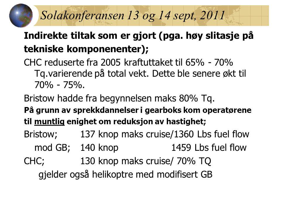Solakonferansen 13 og 14 sept, 2011 Indirekte tiltak som er gjort (pga. høy slitasje på tekniske komponenenter); CHC reduserte fra 2005 kraftuttaket t