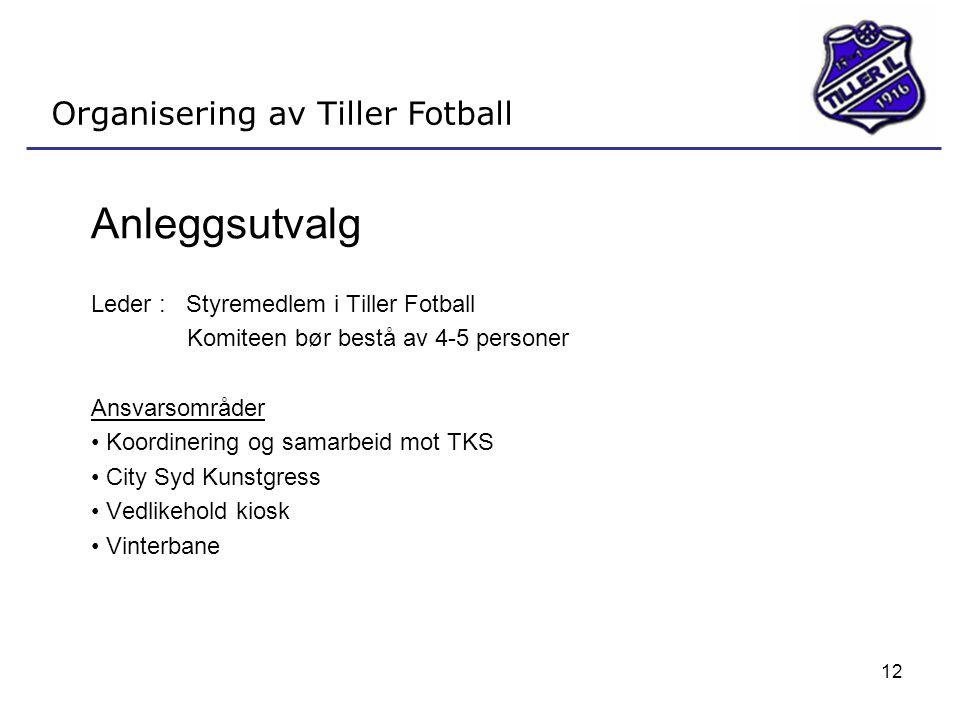 12 Organisering av Tiller Fotball Anleggsutvalg Leder : Styremedlem i Tiller Fotball Komiteen bør bestå av 4-5 personer Ansvarsområder • Koordinering
