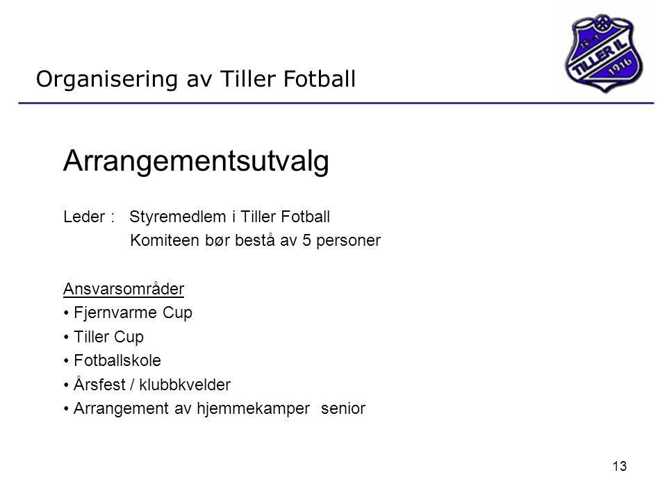 13 Organisering av Tiller Fotball Arrangementsutvalg Leder : Styremedlem i Tiller Fotball Komiteen bør bestå av 5 personer Ansvarsområder • Fjernvarme