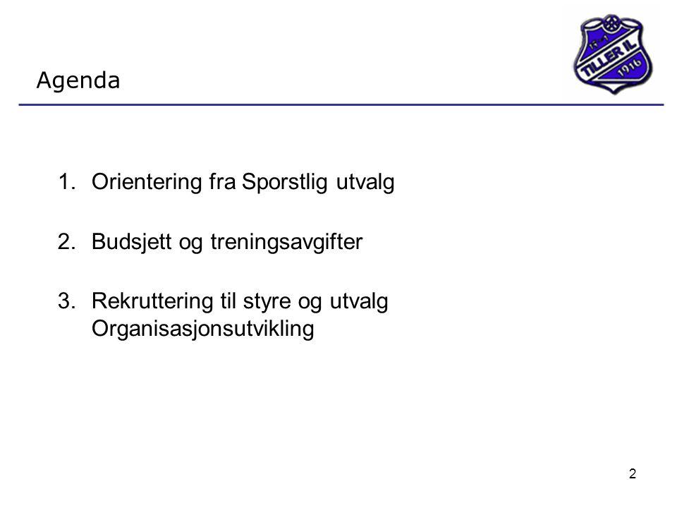 2 Agenda 1.Orientering fra Sporstlig utvalg 2.Budsjett og treningsavgifter 3.Rekruttering til styre og utvalg Organisasjonsutvikling