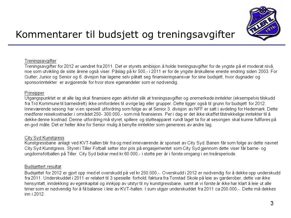 3 Kommentarer til budsjett og treningsavgifter Treningsavgifter Treningsavgifter for 2012 er uendret fra 2011. Det er styrets ambisjon å holde trening