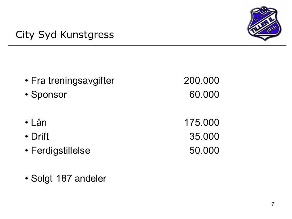 7 City Syd Kunstgress • Fra treningsavgifter200.000 • Sponsor60.000 • Lån175.000 • Drift 35.000 • Ferdigstillelse50.000 • Solgt 187 andeler