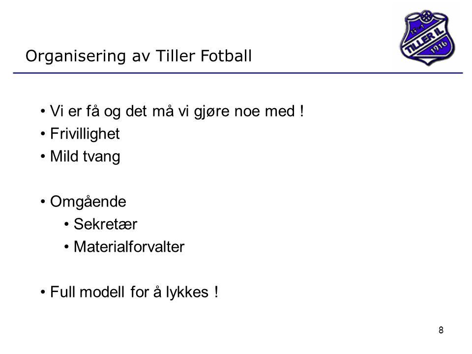 8 Organisering av Tiller Fotball • Vi er få og det må vi gjøre noe med ! • Frivillighet • Mild tvang • Omgående • Sekretær • Materialforvalter • Full