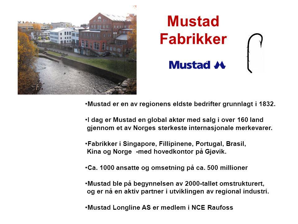 Mustad Fabrikker •Mustad er en av regionens eldste bedrifter grunnlagt i 1832. •I dag er Mustad en global aktør med salg i over 160 land gjennom et av