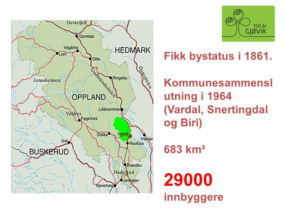 Fikk bystatus i 1861. Kommunesammensl utning i 1964 (Vardal, Snertingdal og Biri) 683 km² 29000 innbyggere