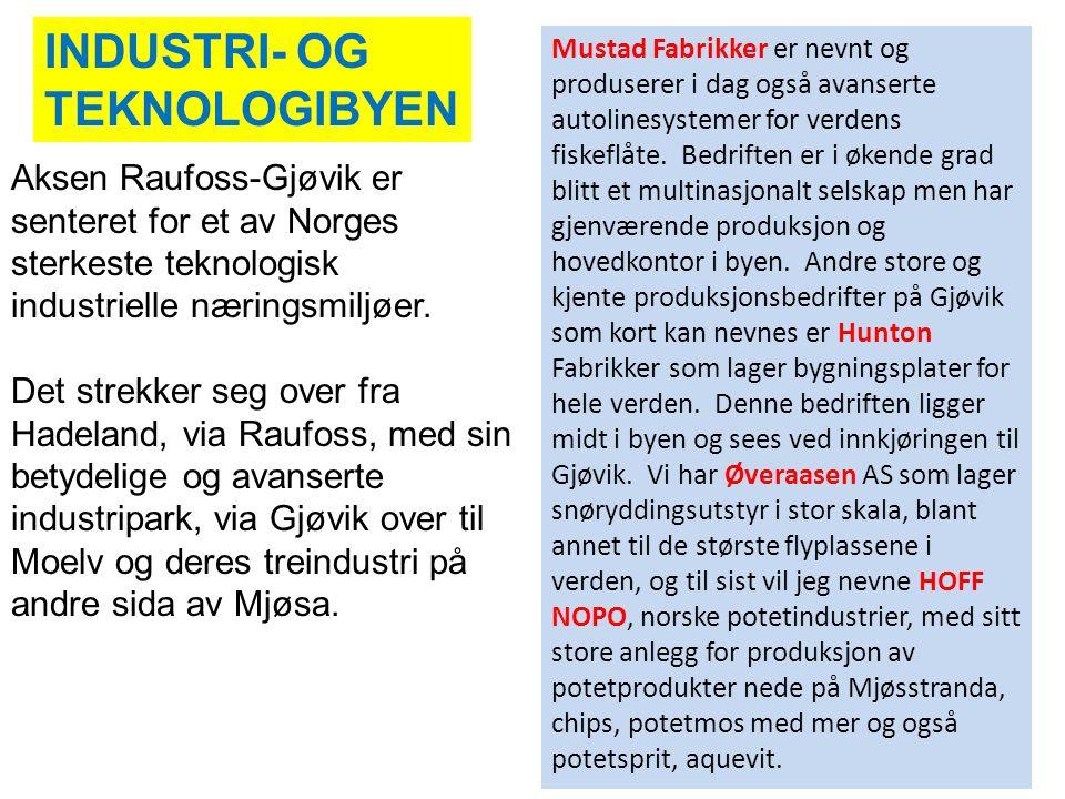 Aksen Raufoss-Gjøvik er senteret for et av Norges sterkeste teknologisk industrielle næringsmiljøer. Det strekker seg over fra Hadeland, via Raufoss,