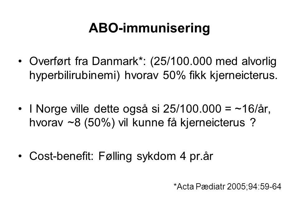 ABO-immunisering •Overført fra Danmark*: (25/100.000 med alvorlig hyperbilirubinemi) hvorav 50% fikk kjerneicterus. •I Norge ville dette også si 25/10