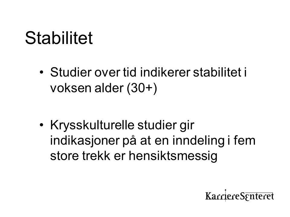 Stabilitet •Studier over tid indikerer stabilitet i voksen alder (30+) •Krysskulturelle studier gir indikasjoner på at en inndeling i fem store trekk