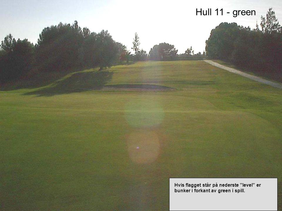 Hull 11 - green Hvis flagget står på nederste level er bunker i forkant av green i spill.