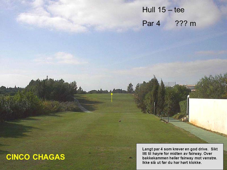 Hull 15 – tee Par 4 . m CINCO CHAGAS Langt par 4 som krever en god drive.