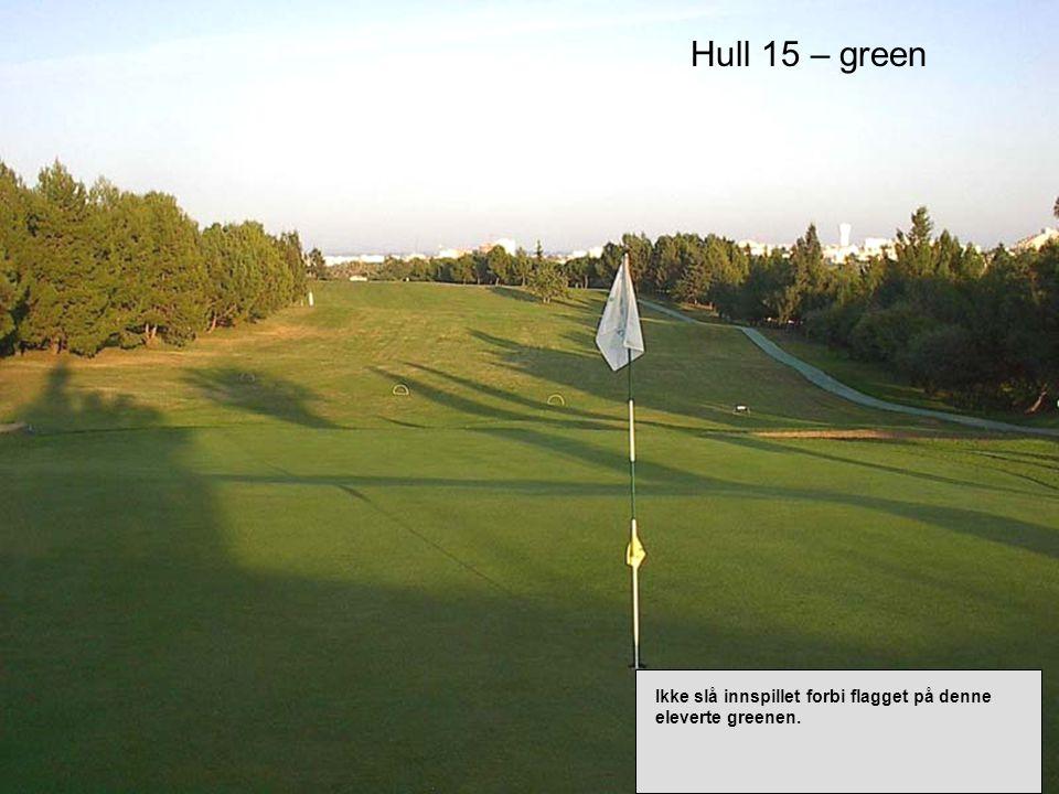 Hull 15 – green Ikke slå innspillet forbi flagget på denne eleverte greenen.