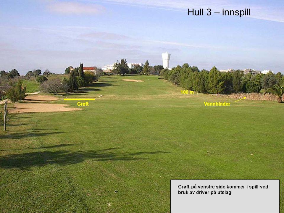 Hull 8 – tee Par 4 293 m O VALE Kort par 4 hull med stor bunker på høyre side.